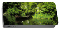 Boat Reflected On Water County Clare Ireland Painting Portable Battery Charger