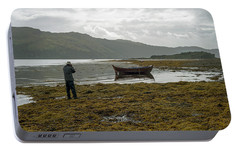 Portable Battery Charger featuring the photograph Boat Seaweed And Photographer In Isle Of Skye, Uk by Dubi Roman
