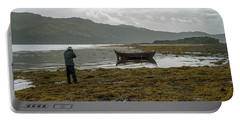 Boat Seaweed And Photographer In Isle Of Skye, Uk Portable Battery Charger by Dubi Roman