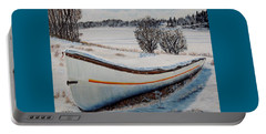 Portable Battery Charger featuring the painting Boat Under Snow by Marilyn  McNish