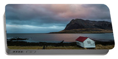 Boathouse At Sunrise Portable Battery Charger by Scott Cunningham