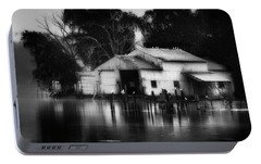 Portable Battery Charger featuring the photograph Boathouse Bw by Bill Wakeley