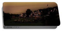 Portable Battery Charger featuring the photograph Boathouse Row From The Lagoon Before Dawn by Bill Cannon