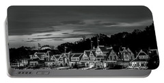 Boathouse Row Philadelphia Pa Night Black And White Portable Battery Charger