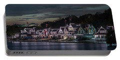 Boathouse Row Philly Pa Night Portable Battery Charger by Terry DeLuco