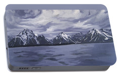Portable Battery Charger featuring the painting Boating Jenny Lake, Grand Tetons by Erin Fickert-Rowland