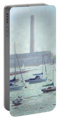 Portable Battery Charger featuring the painting Boats At Fawley Hampshire by Martin Davey