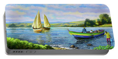 Portable Battery Charger featuring the painting Boats At Lake Victoria by Anthony Mwangi