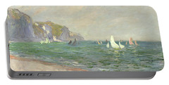 Boats Below The Cliffs At Pourville Portable Battery Charger by Claude Monet