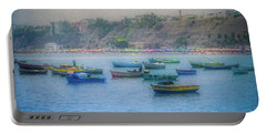 Portable Battery Charger featuring the photograph Boats In Blue Twilight - Lima, Peru by Mary Machare