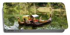 Boats In Lake Ankor Thom Portable Battery Charger by James Gay