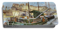 Boats In Paris, Pont Neuf Portable Battery Charger