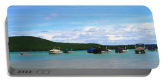 Boats In Sleeping Bear Bay Wood Texture Portable Battery Charger by Dan Sproul