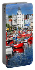 Boats In The Harbor - La Coruna Portable Battery Charger by Mary Machare