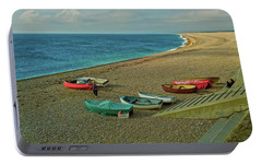 Portable Battery Charger featuring the photograph Boats On Chesil Beach by Anne Kotan