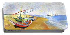 Portable Battery Charger featuring the painting Boats On The Beach At Saintes-maries After Van Gogh by Rodney Campbell