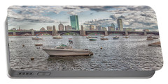Boats On The Charles River In Front  Of The Boston Skyline Portable Battery Charger