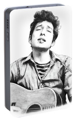 Bob Dylan Drawing Art Poster Portable Battery Charger by Kim Wang