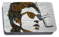 Bob Dylan Minnesota Native Recycled Vintage License Plate Portrait On White Wood Portable Battery Charger by Design Turnpike