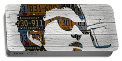 Bob Dylan Minnesota Native Recycled Vintage License Plate Portrait On White Wood Portable Battery Charger