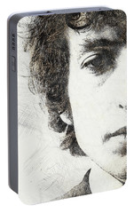 Bob Dylan Portrait 02 Portable Battery Charger by Pablo Romero