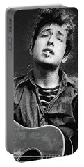 Portable Battery Charger featuring the digital art Bob Dylan by Taylan Apukovska