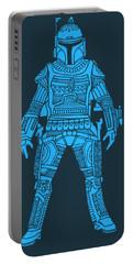 Boba Fett - Star Wars Art, Blue Portable Battery Charger