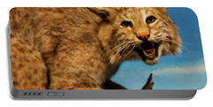 Portable Battery Charger featuring the digital art Bobcat On A Branch by Chris Flees