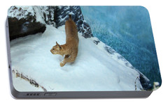 Portable Battery Charger featuring the digital art Bobcat On A Mountain Ledge by Chris Flees