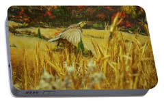 Portable Battery Charger featuring the digital art Bobwhite In Flight by Chris Flees