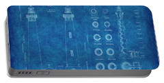 Bodie Island Lighthouse Blueprint Portable Battery Charger