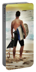 Portable Battery Charger featuring the photograph Boggie Boarder At Waimea Bay by Jim Albritton