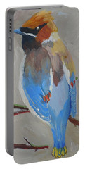 Portable Battery Charger featuring the painting Bohemian Wax Wing by Francine Frank