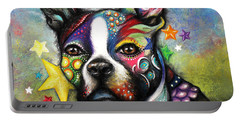 Portable Battery Charger featuring the pastel Boston Terrier by Patricia Lintner