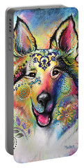 Portable Battery Charger featuring the pastel Collie by Patricia Lintner