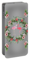 Portable Battery Charger featuring the digital art Boho Floral Tropical Wreath Flamingo by Georgeta Blanaru