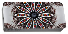 Portable Battery Charger featuring the digital art Boho Flower by Mo T