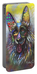 Portable Battery Charger featuring the mixed media German Shepherd by Patricia Lintner
