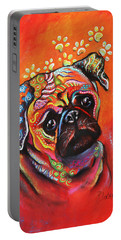 Portable Battery Charger featuring the mixed media Pug by Patricia Lintner