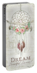 Portable Battery Charger featuring the painting Boho Western Dream Catcher W Wood Macrame Feathers And Roses Dream Beautiful Dreams by Audrey Jeanne Roberts