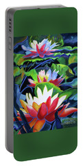 Portable Battery Charger featuring the painting Bold Lilypads by Kathy Braud