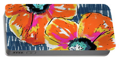 Bold Orange Poppies- Art By Linda Woods Portable Battery Charger by Linda Woods