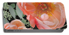 Bold Peony Seeded Eucalyptus Leaves Portable Battery Charger by Audrey Jeanne Roberts