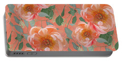 Bold Peony Seeded Eucalyptus Leaves Repeat Pattern Portable Battery Charger by Audrey Jeanne Roberts