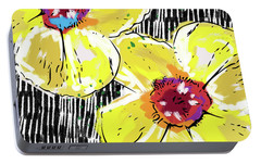 Portable Battery Charger featuring the mixed media Bold Yellow Poppies- Art By Linda Woods by Linda Woods