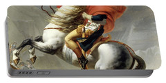Bonaparte Crossing The Alps Portable Battery Charger by Jacques Louis David