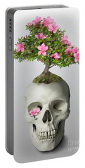 Portable Battery Charger featuring the painting Bonsai Skull by Ivana Westin