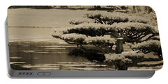 Bonsai Tree Near Pond In Sepia Portable Battery Charger