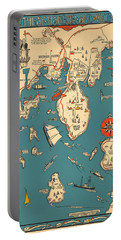 Boothbay Harbor And Vicinity - Vintage Illustrated Map - Pictorial - Cartography Portable Battery Charger