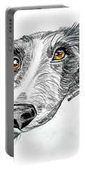 Border Collie Dog Colored Pencil Portable Battery Charger by Scott D Van Osdol